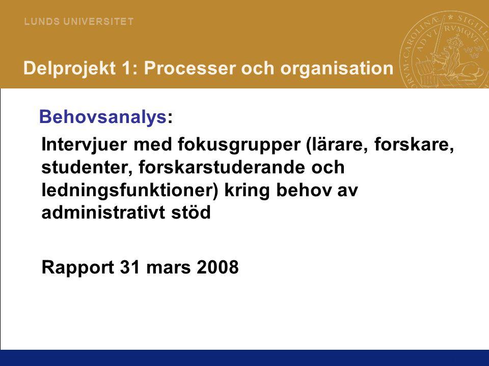 11 L U N D S U N I V E R S I T E T Delprojekt 1: Processer och organisation Behovsanalys: Intervjuer med fokusgrupper (lärare, forskare, studenter, fo