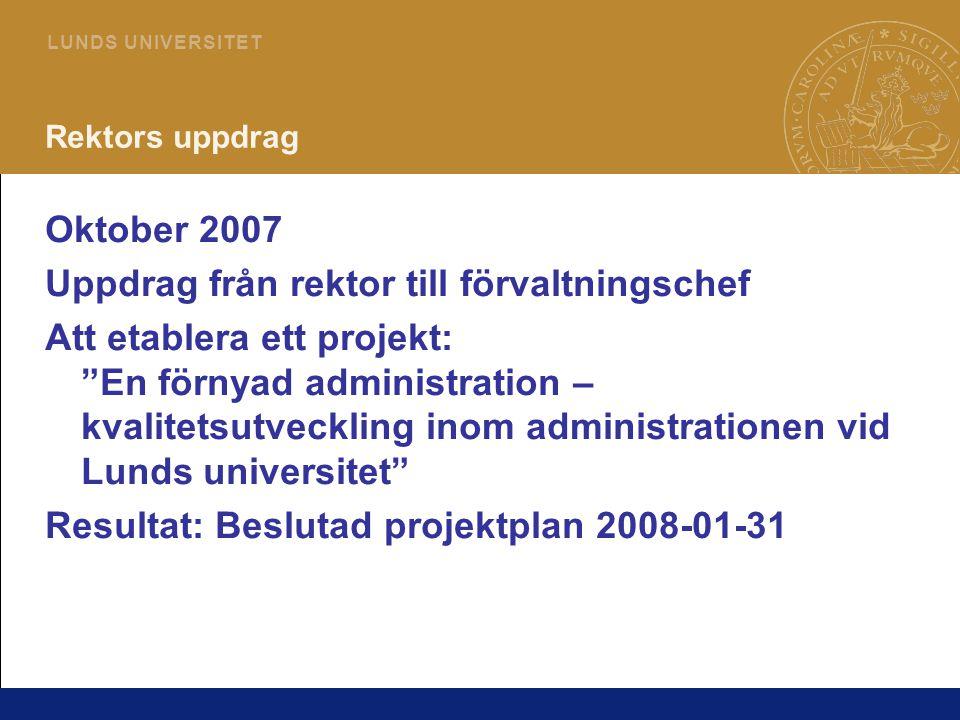 """2 L U N D S U N I V E R S I T E T Rektors uppdrag Oktober 2007 Uppdrag från rektor till förvaltningschef Att etablera ett projekt: """"En förnyad adminis"""