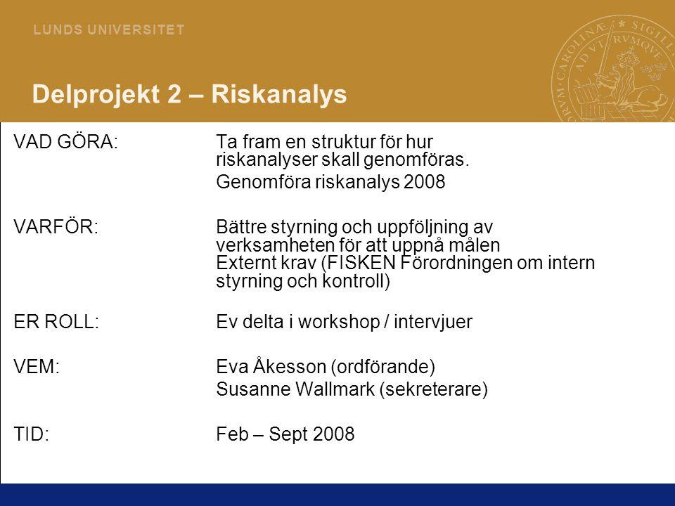 22 L U N D S U N I V E R S I T E T Delprojekt 2 – Riskanalys VAD GÖRA:Ta fram en struktur för hur riskanalyser skall genomföras. Genomföra riskanalys