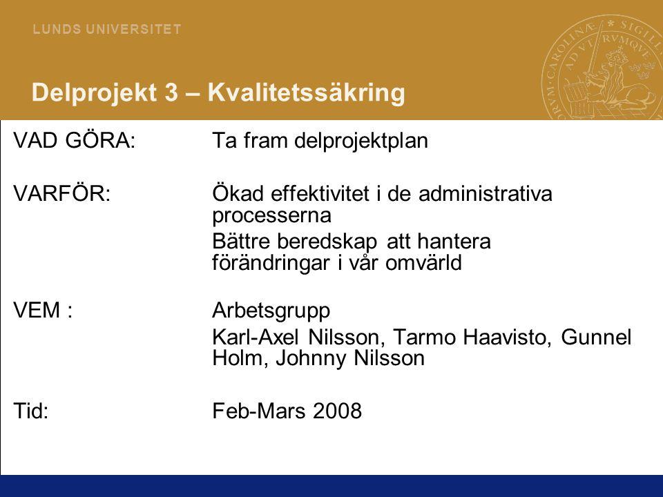 23 L U N D S U N I V E R S I T E T Delprojekt 3 – Kvalitetssäkring VAD GÖRA:Ta fram delprojektplan VARFÖR:Ökad effektivitet i de administrativa proces