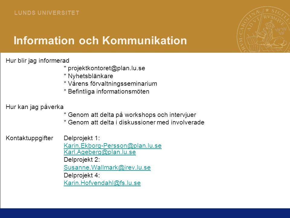 25 L U N D S U N I V E R S I T E T Information och Kommunikation Hur blir jag informerad * projektkontoret@plan.lu.se * Nyhetsblänkare * Vårens förval