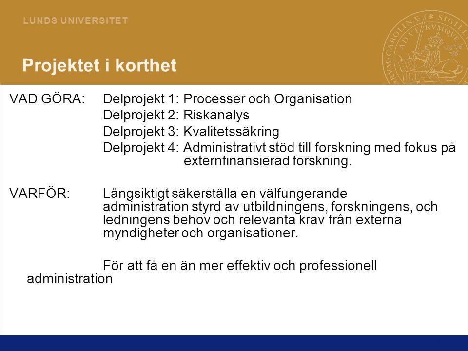 25 L U N D S U N I V E R S I T E T Information och Kommunikation Hur blir jag informerad * projektkontoret@plan.lu.se * Nyhetsblänkare * Vårens förvaltningsseminarium * Befintliga informationsmöten Hur kan jag påverka * Genom att delta på workshops och intervjuer * Genom att delta i diskussioner med involverade KontaktuppgifterDelprojekt 1: Karin.Ekborg-Persson@plan.lu.se Karl.Ageberg@plan.lu.se Delprojekt 2: Susanne.Wallmark@irev.lu.se Delprojekt 4: Karin.Hofvendahl@fs.lu.se