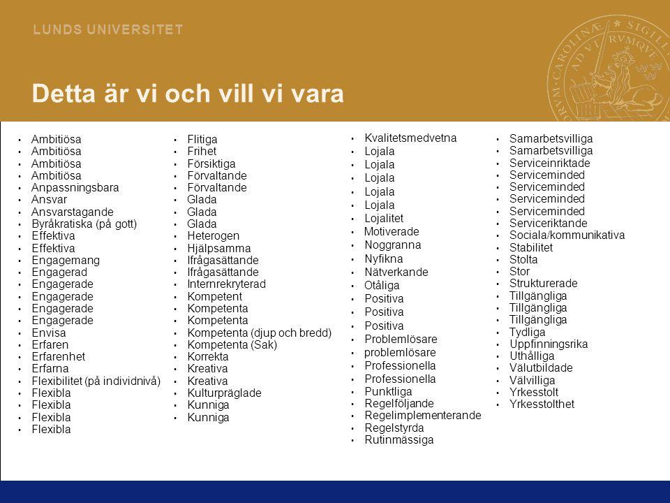 8 L U N D S U N I V E R S I T E T Detta är vi och vill vi vara Ambitiösa Anpassningsbara Ansvar Ansvarstagande Byråkratiska (på gott) Effektiva Engage
