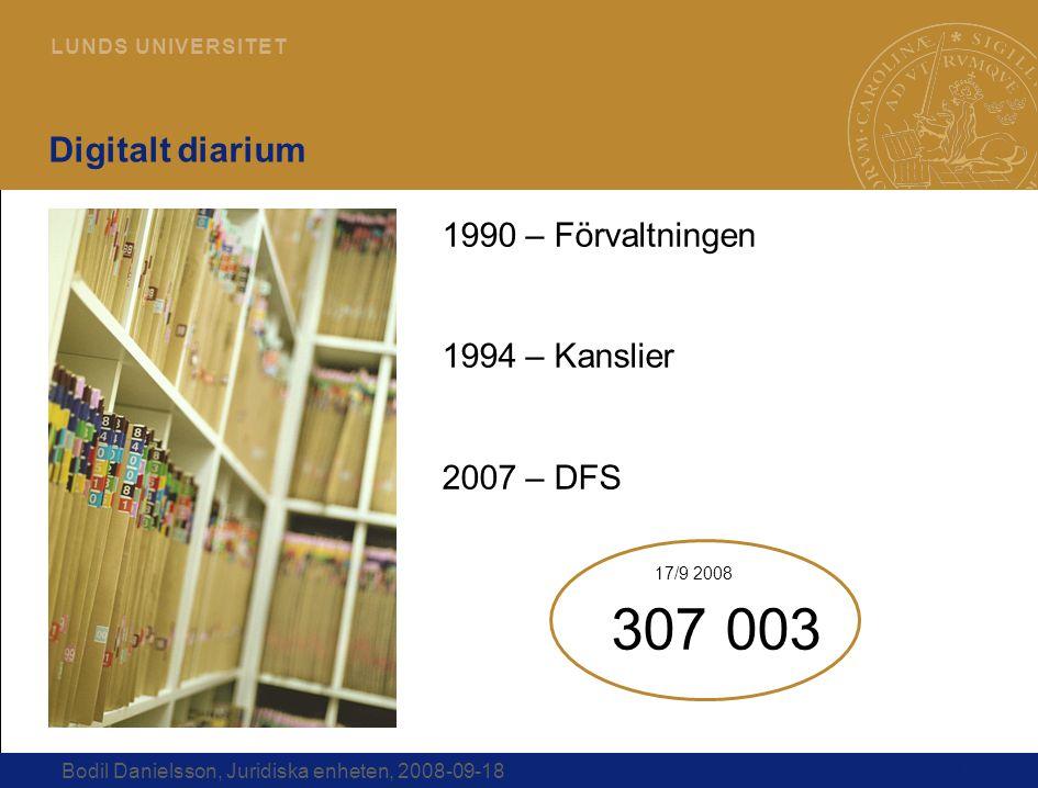 17 L U N D S U N I V E R S I T E T Bodil Danielsson, Juridiska enheten, 2008-09-18 Digitalt diarium 1990 – Förvaltningen 1994 – Kanslier 2007 – DFS 30