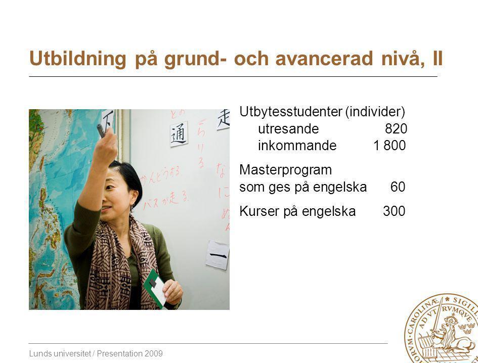 Lunds universitet / Presentation 2009 Utbildning på grund- och avancerad nivå, II Utbytesstudenter (individer) utresande 820 inkommande 1 800 Masterprogram som ges på engelska60 Kurser på engelska300