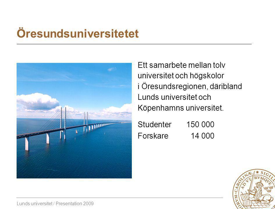 Lunds universitet / Presentation 2009 Öresundsuniversitetet Ett samarbete mellan tolv universitet och högskolor i Öresundsregionen, däribland Lunds universitet och Köpenhamns universitet.