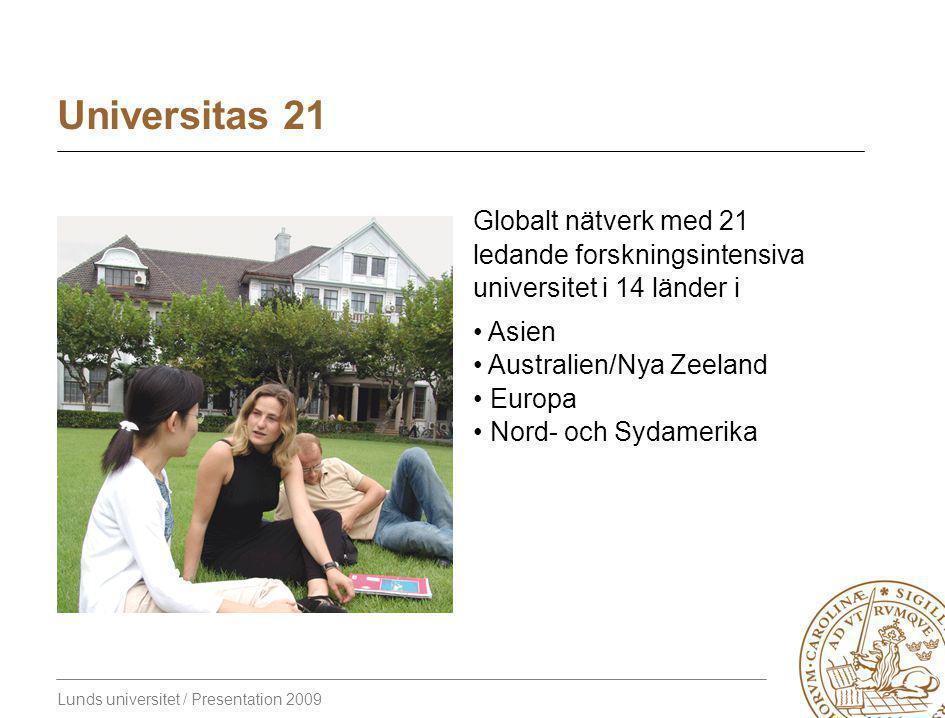 Lunds universitet / Presentation 2009 Universitas 21 Globalt nätverk med 21 ledande forskningsintensiva universitet i 14 länder i Asien Australien/Nya Zeeland Europa Nord- och Sydamerika