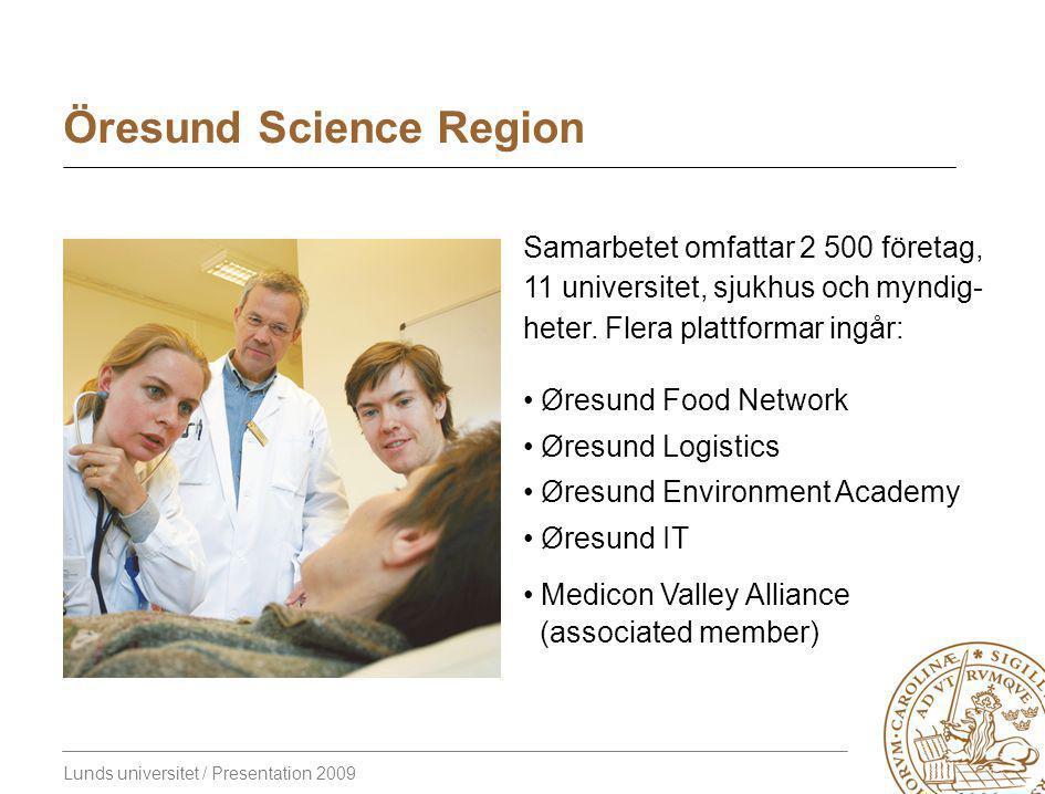 Lunds universitet / Presentation 2009 Öresund Science Region Samarbetet omfattar 2 500 företag, 11 universitet, sjukhus och myndig- heter.
