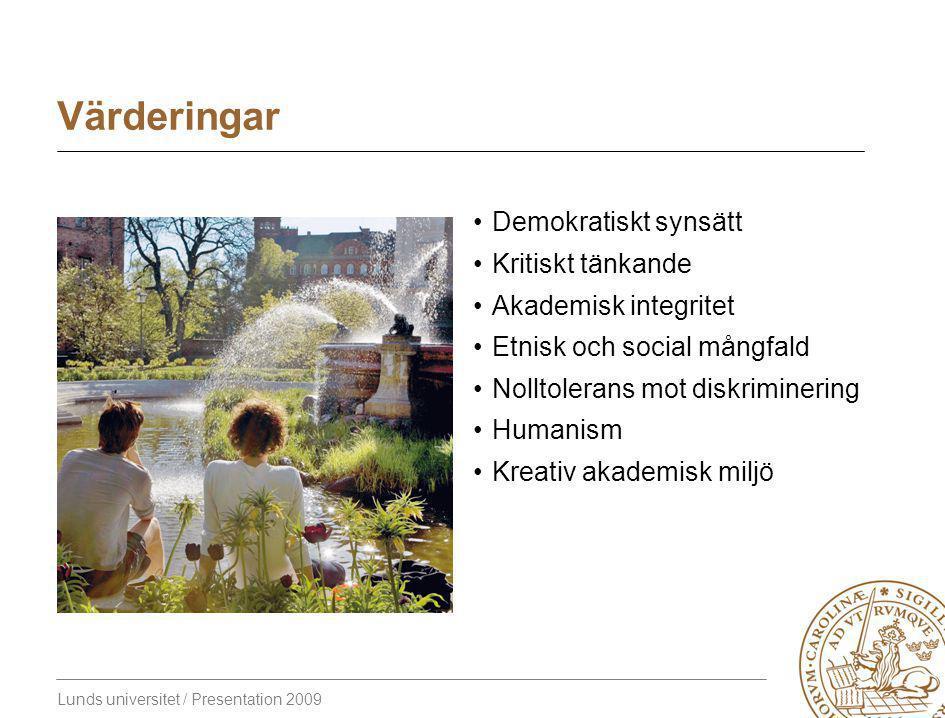 Lunds universitet / Presentation 2009 Värderingar Demokratiskt synsätt Kritiskt tänkande Akademisk integritet Etnisk och social mångfald Nolltolerans mot diskriminering Humanism Kreativ akademisk miljö