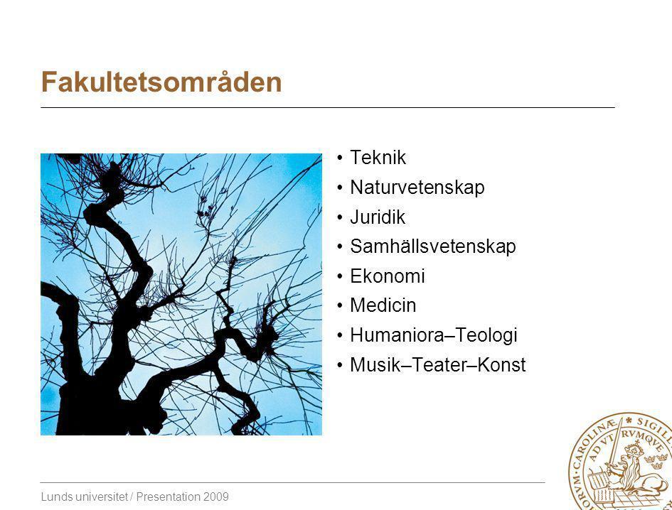 Lunds universitet / Presentation 2009 Fakultetsområden Teknik Naturvetenskap Juridik Samhällsvetenskap Ekonomi Medicin Humaniora–Teologi Musik–Teater–Konst