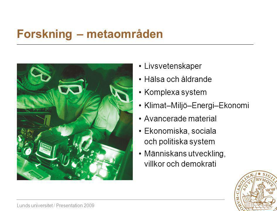 Lunds universitet / Presentation 2009 Forskning – metaområden Livsvetenskaper Hälsa och åldrande Komplexa system Klimat–Miljö–Energi–Ekonomi Avancerade material Ekonomiska, sociala och politiska system Människans utveckling, villkor och demokrati