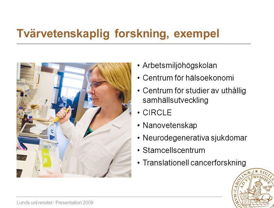 Lunds universitet / Presentation 2009 Tvärvetenskaplig forskning, exempel Arbetsmiljöhögskolan Centrum för hälsoekonomi Centrum för studier av uthållig samhällsutveckling CIRCLE Nanovetenskap Neurodegenerativa sjukdomar Stamcellscentrum Translationell cancerforskning