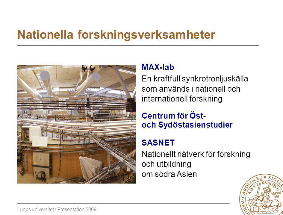 Lunds universitet / Presentation 2009 Nationella forskningsverksamheter MAX-lab En kraftfull synkrotronljuskälla som används i nationell och internationell forskning Centrum för Öst- och Sydöstasienstudier SASNET Nationellt nätverk för forskning och utbildning om södra Asien