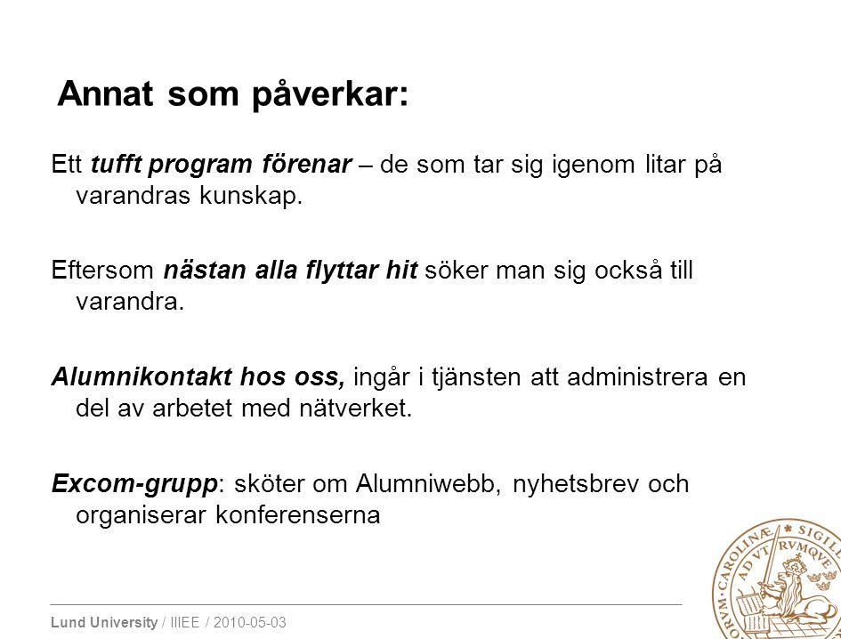 Lund University / IIIEE / 2010-05-03 Ett tufft program förenar – de som tar sig igenom litar på varandras kunskap. Eftersom nästan alla flyttar hit sö