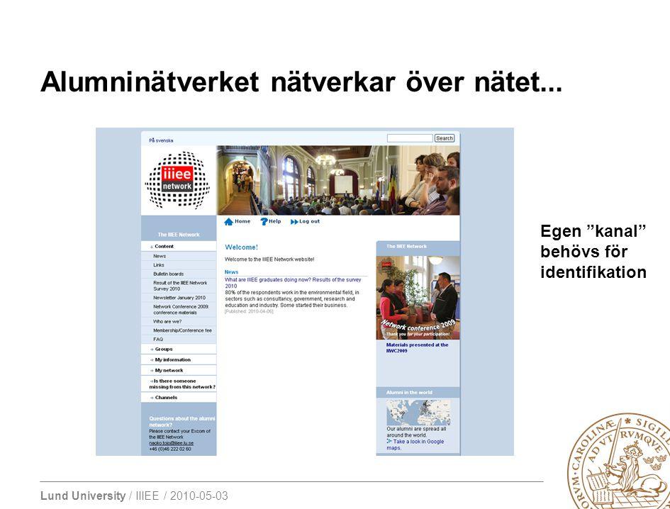 """Lund University / IIIEE / 2010-05-03 Alumninätverket nätverkar över nätet... Egen """"kanal"""" behövs för identifikation"""