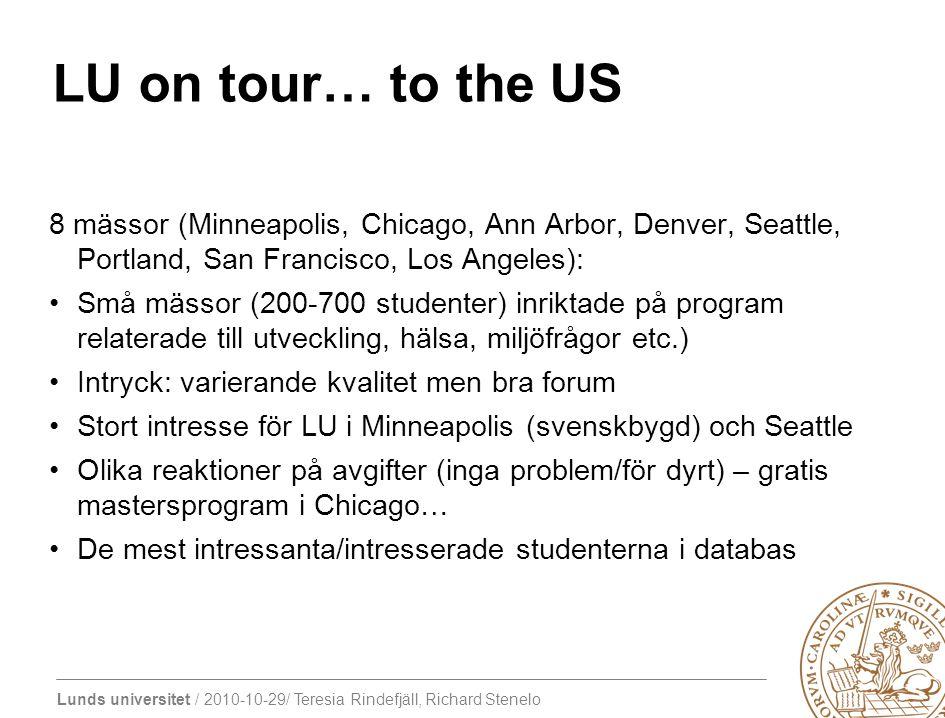 LU on tour… to the US 8 mässor (Minneapolis, Chicago, Ann Arbor, Denver, Seattle, Portland, San Francisco, Los Angeles): Små mässor (200-700 studenter) inriktade på program relaterade till utveckling, hälsa, miljöfrågor etc.) Intryck: varierande kvalitet men bra forum Stort intresse för LU i Minneapolis (svenskbygd) och Seattle Olika reaktioner på avgifter (inga problem/för dyrt) – gratis mastersprogram i Chicago… De mest intressanta/intresserade studenterna i databas