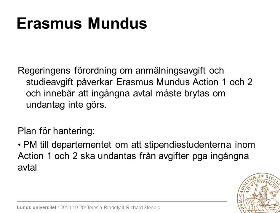 Lunds universitet / 2010-10-29/ Teresia Rindefjäll, Richard Stenelo Erasmus Mundus Regeringens förordning om anmälningsavgift och studieavgift påverkar Erasmus Mundus Action 1 och 2 och innebär att ingångna avtal måste brytas om undantag inte görs.