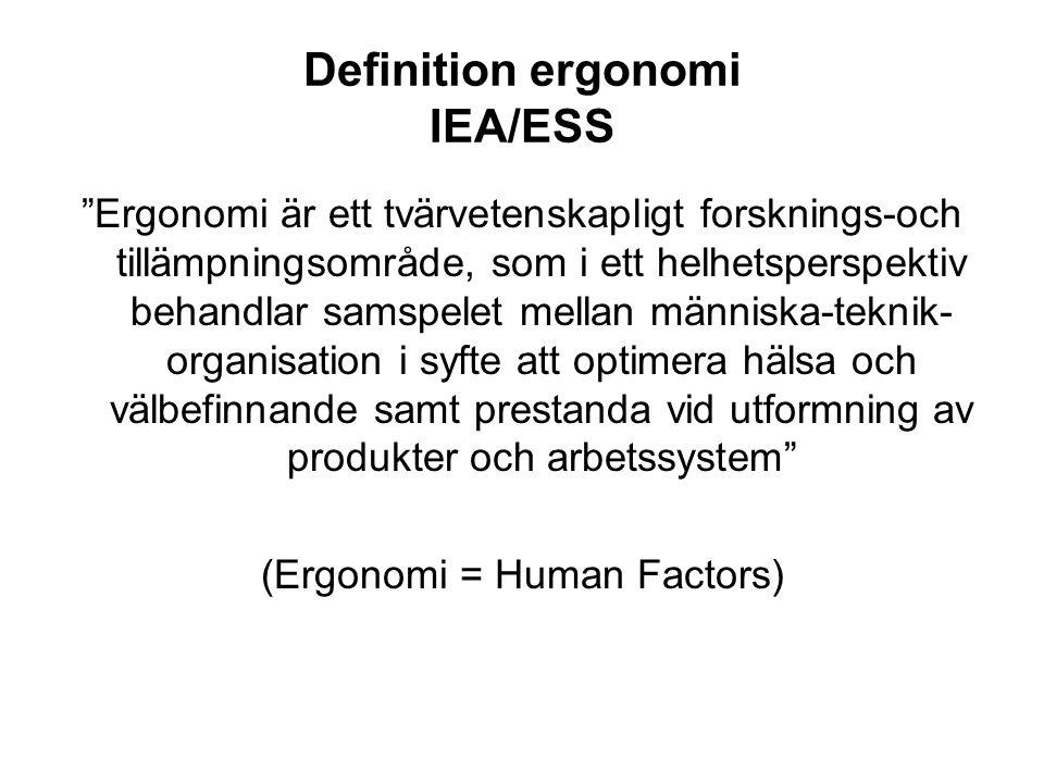 """Definition ergonomi IEA/ESS """"Ergonomi är ett tvärvetenskapligt forsknings-och tillämpningsområde, som i ett helhetsperspektiv behandlar samspelet mell"""
