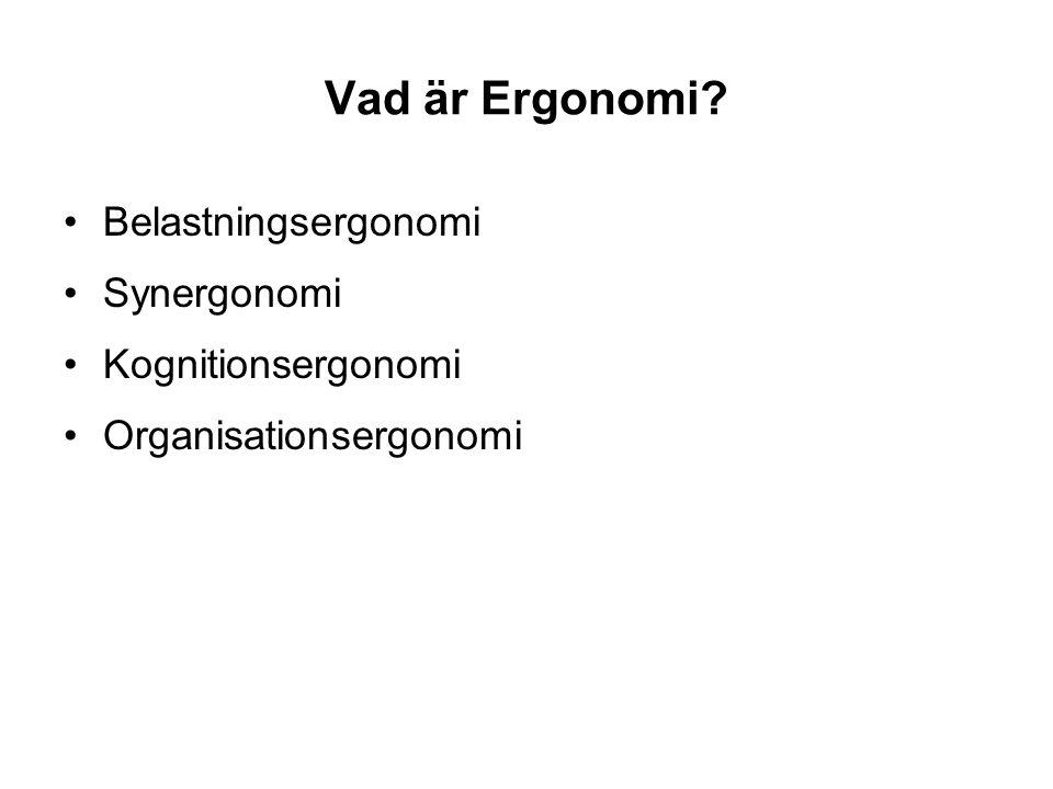 Vad är Ergonomi? Belastningsergonomi Synergonomi Kognitionsergonomi Organisationsergonomi