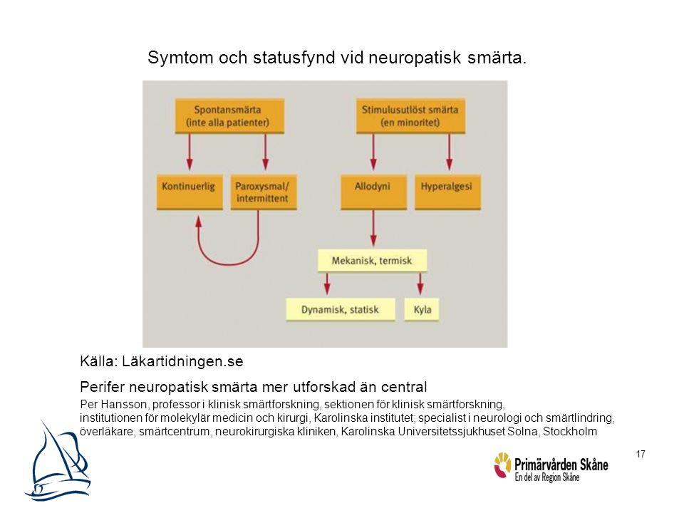 17 Symtom och statusfynd vid neuropatisk smärta. Källa: Läkartidningen.se Perifer neuropatisk smärta mer utforskad än central Per Hansson, professor i