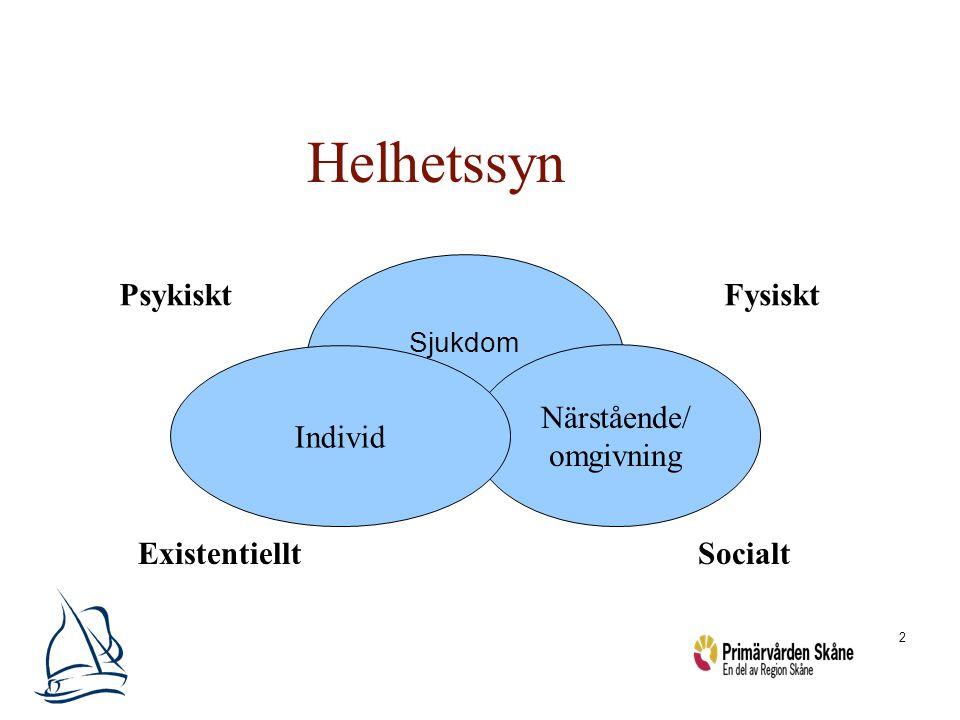 2 Helhetssyn PsykisktFysiskt ExistentielltSocialt Sjukdom Närstående/ omgivning Individ