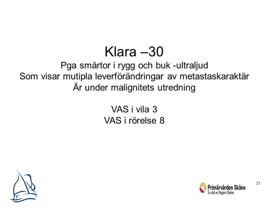 21 Klara –30 Pga smärtor i rygg och buk -ultraljud Som visar mutipla leverförändringar av metastaskaraktär Är under malignitets utredning VAS i vila 3