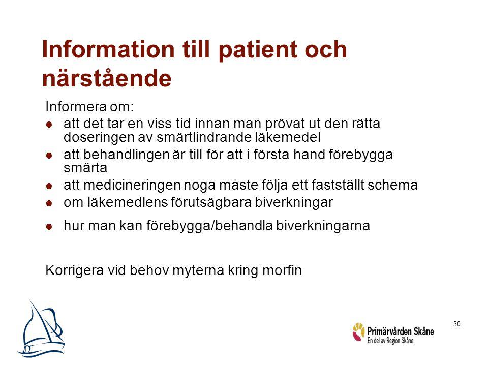 30 Information till patient och närstående Informera om: att det tar en viss tid innan man prövat ut den rätta doseringen av smärtlindrande läkemedel