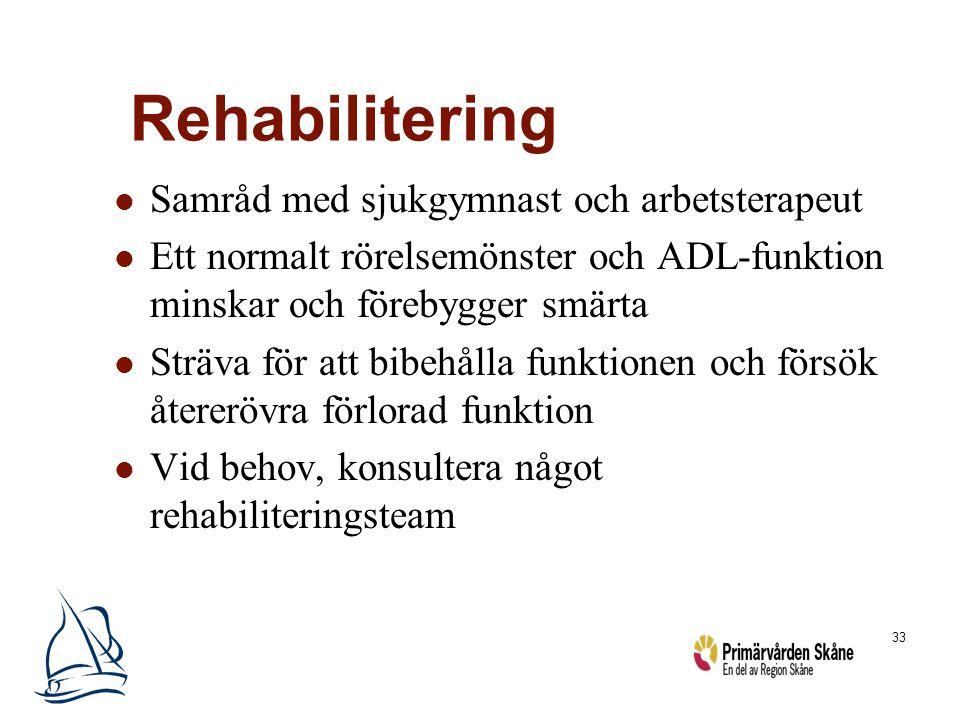 33 Rehabilitering Samråd med sjukgymnast och arbetsterapeut Ett normalt rörelsemönster och ADL-funktion minskar och förebygger smärta Sträva för att b