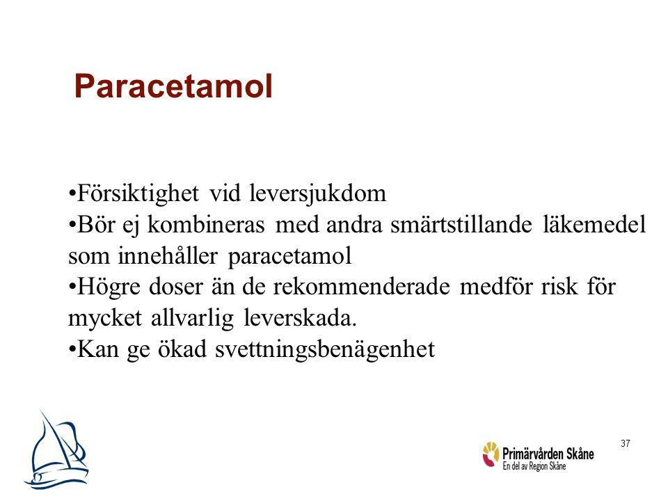37 Paracetamol Försiktighet vid leversjukdom Bör ej kombineras med andra smärtstillande läkemedel som innehåller paracetamol Högre doser än de rekomme