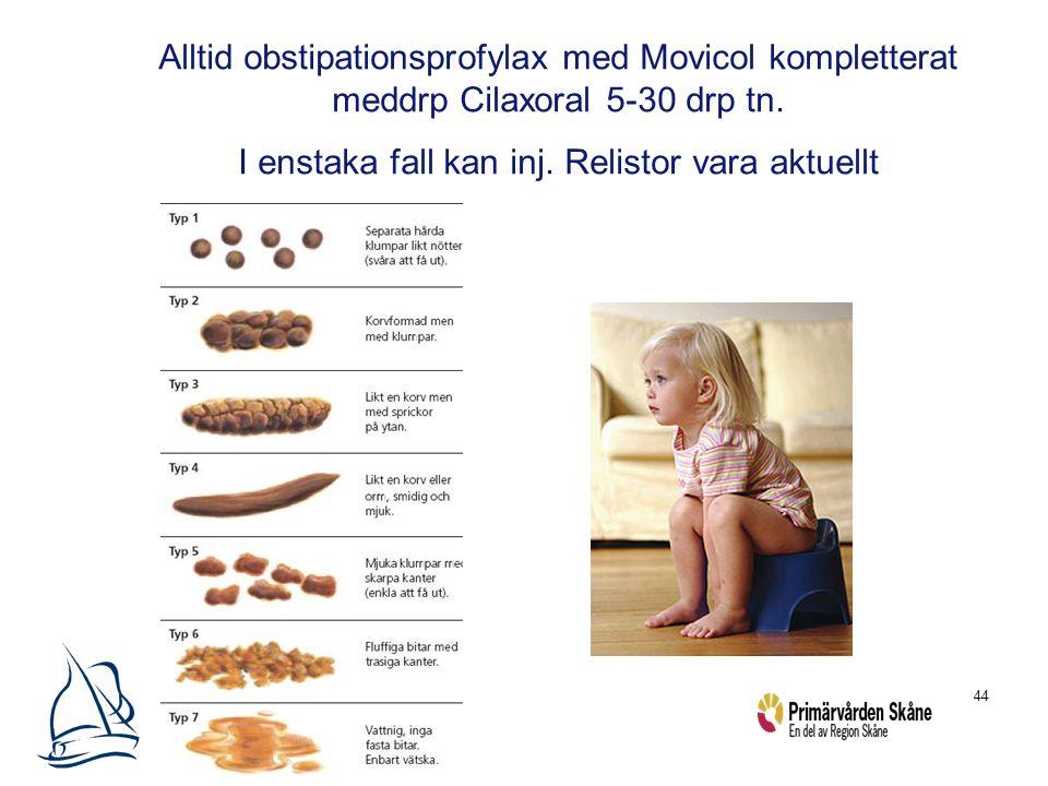 44 Alltid obstipationsprofylax med Movicol kompletterat meddrp Cilaxoral 5-30 drp tn. I enstaka fall kan inj. Relistor vara aktuellt