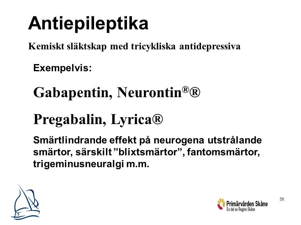 """58 Exempelvis: Gabapentin, Neurontin ® ® Pregabalin, Lyrica® Smärtlindrande effekt på neurogena utstrålande smärtor, särskilt """"blixtsmärtor"""", fantomsm"""