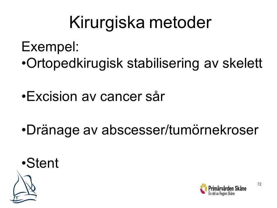 72 Kirurgiska metoder Exempel: Ortopedkirugisk stabilisering av skelett Excision av cancer sår Dränage av abscesser/tumörnekroser Stent