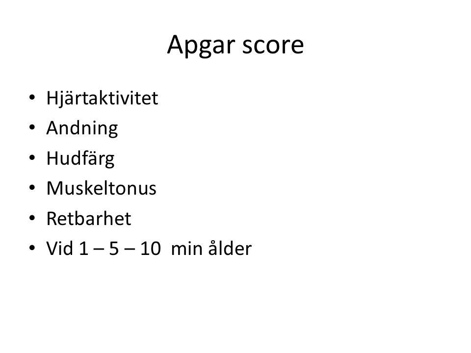 Apgar score Hjärtaktivitet Andning Hudfärg Muskeltonus Retbarhet Vid 1 – 5 – 10 min ålder