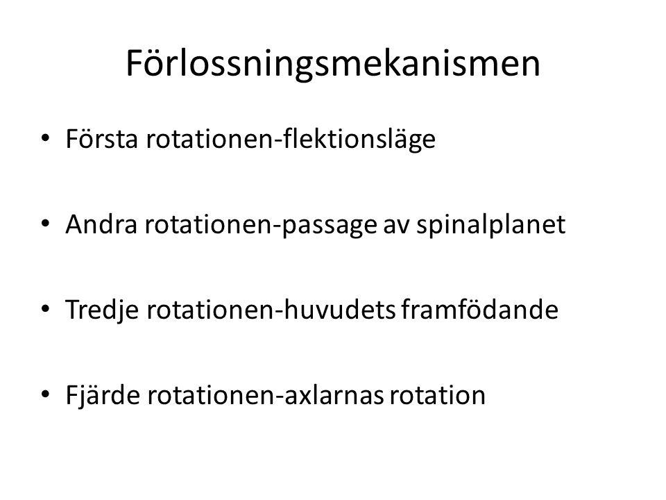 Förlossningsmekanismen Första rotationen-flektionsläge Andra rotationen-passage av spinalplanet Tredje rotationen-huvudets framfödande Fjärde rotation