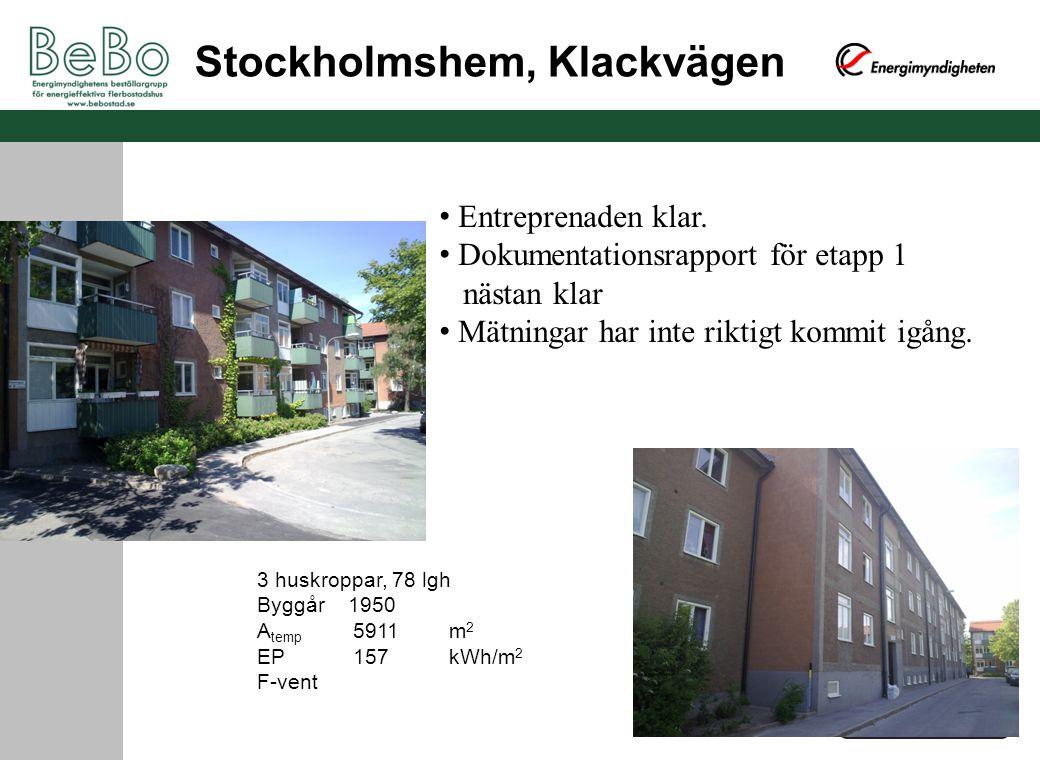 Stockholmshem, Klackvägen 3 huskroppar, 78 lgh Byggår 1950 A temp 5911m 2 EP 157kWh/m 2 F-vent Entreprenaden klar. Dokumentationsrapport för etapp 1 n