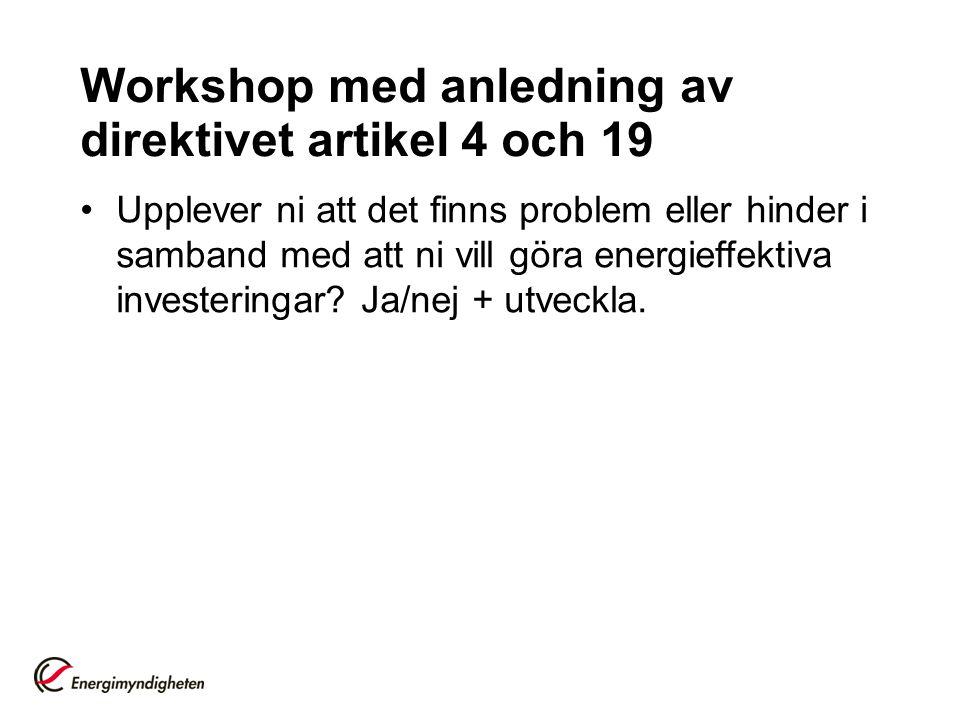 Workshop med anledning av direktivet artikel 4 och 19 Upplever ni att det finns problem eller hinder i samband med att ni vill göra energieffektiva in