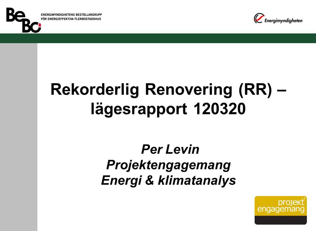 Rekorderlig Renovering (RR) – lägesrapport 120320 Per Levin Projektengagemang Energi & klimatanalys