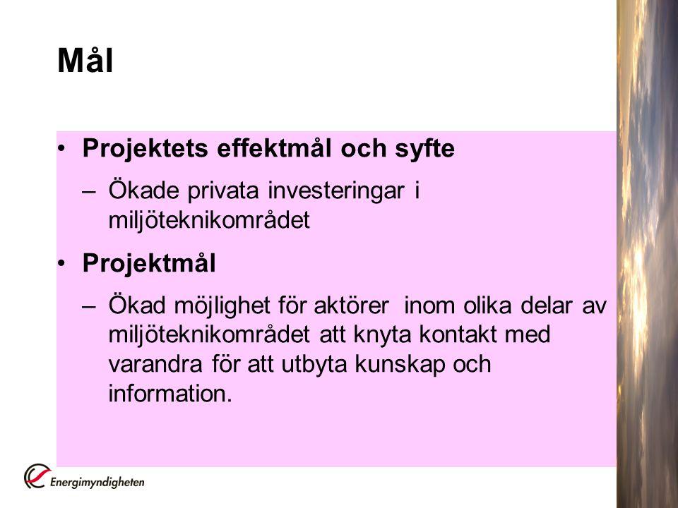 Mål Projektets effektmål och syfte –Ökade privata investeringar i miljöteknikområdet Projektmål –Ökad möjlighet för aktörer inom olika delar av miljöt
