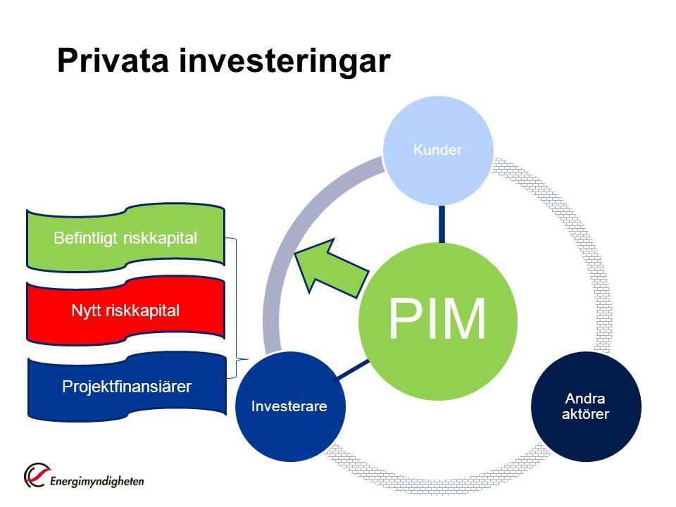 Befintligt riskkapital Nytt riskkapital Projektfinansiärer Privata investeringar