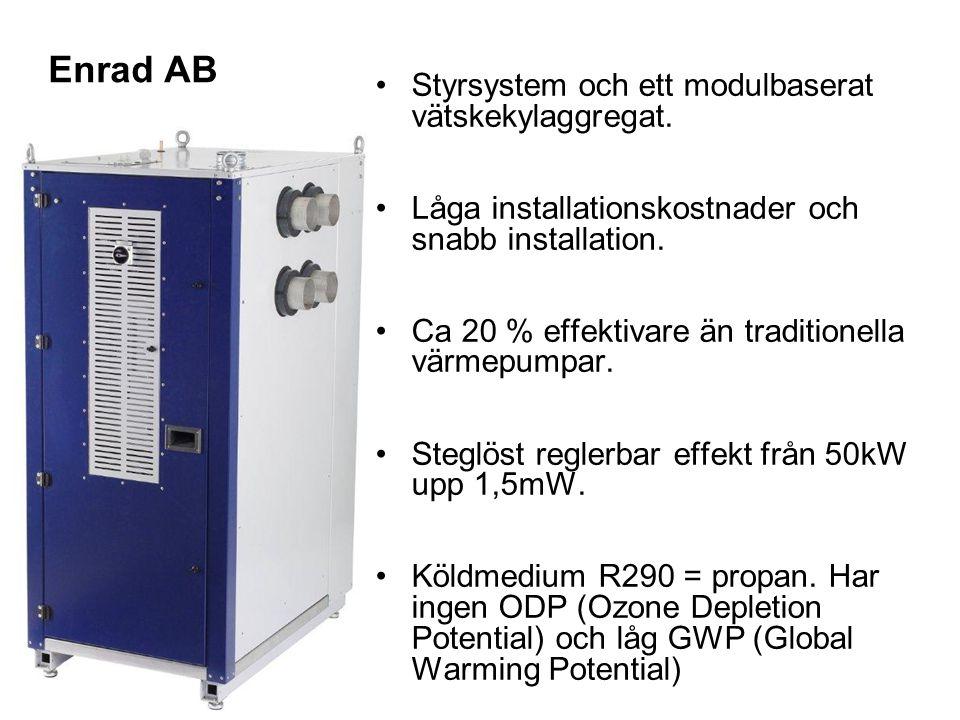 Enrad AB Styrsystem och ett modulbaserat vätskekylaggregat. Låga installationskostnader och snabb installation. Ca 20 % effektivare än traditionella v