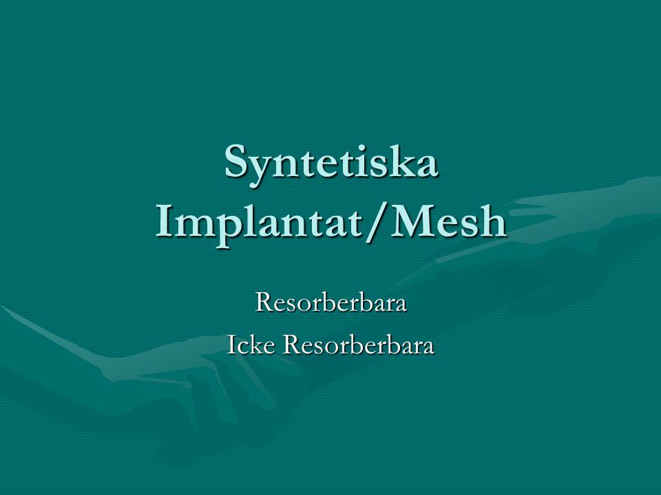 Syntetiska Implantat/Mesh Resorberbara Icke Resorberbara