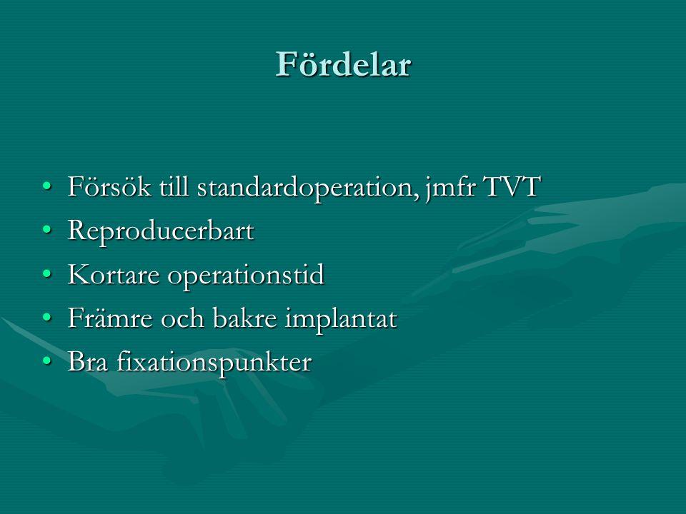 Fördelar Försök till standardoperation, jmfr TVTFörsök till standardoperation, jmfr TVT ReproducerbartReproducerbart Kortare operationstidKortare oper