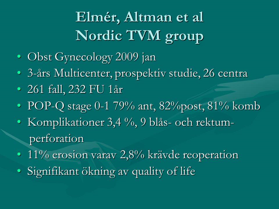 Elmér, Altman et al Nordic TVM group Obst Gynecology 2009 janObst Gynecology 2009 jan 3-års Multicenter, prospektiv studie, 26 centra3-års Multicenter