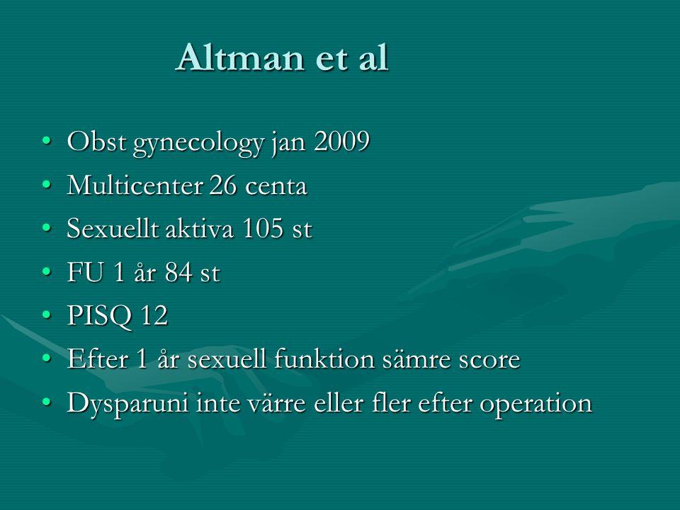 Altman et al Obst gynecology jan 2009Obst gynecology jan 2009 Multicenter 26 centaMulticenter 26 centa Sexuellt aktiva 105 stSexuellt aktiva 105 st FU