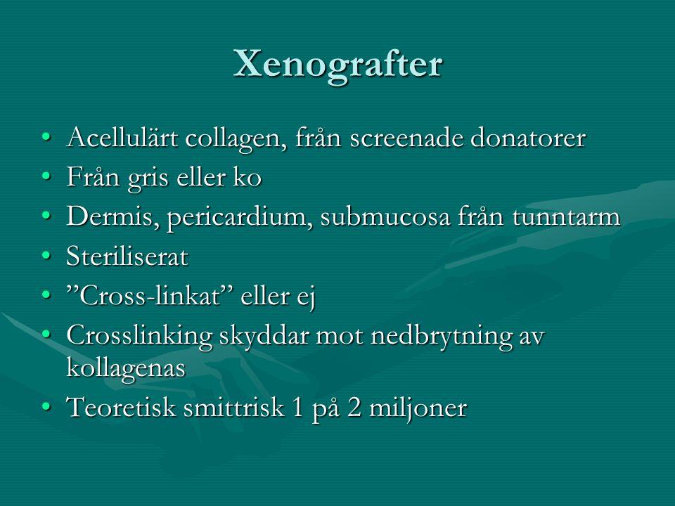 Xenografter Acellulärt collagen, från screenade donatorerAcellulärt collagen, från screenade donatorer Från gris eller koFrån gris eller ko Dermis, pe