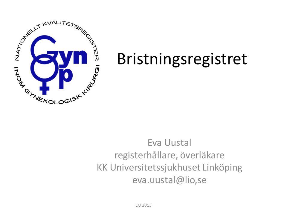 Bristningsregistret Eva Uustal registerhållare, överläkare KK Universitetssjukhuset Linköping eva.uustal@lio,se EU 2013