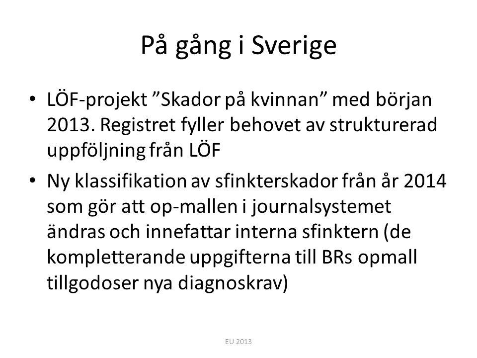 """På gång i Sverige LÖF-projekt """"Skador på kvinnan"""" med början 2013. Registret fyller behovet av strukturerad uppföljning från LÖF Ny klassifikation av"""