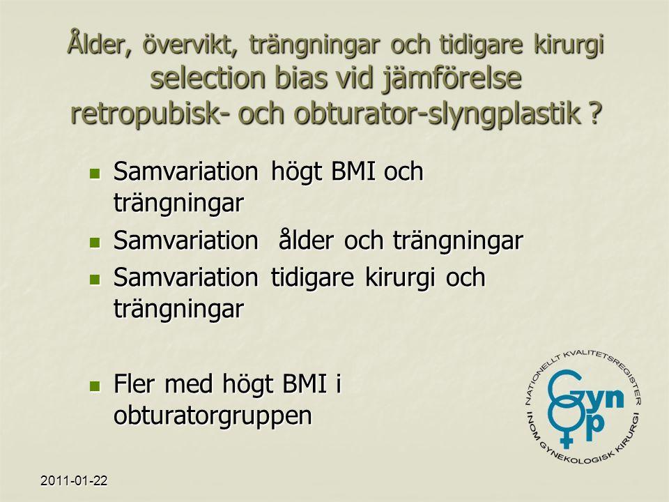 2011-01-22 Ålder, övervikt, trängningar och tidigare kirurgi selection bias vid jämförelse retropubisk- och obturator-slyngplastik .