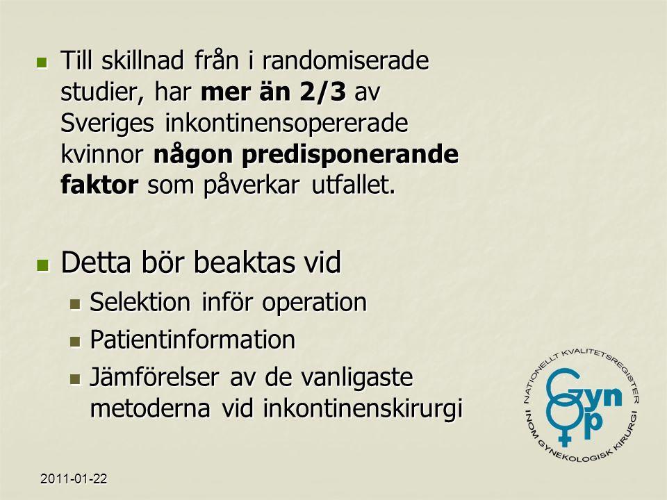 2011-01-22 Till skillnad från i randomiserade studier, har mer än 2/3 av Sveriges inkontinensopererade kvinnor någon predisponerande faktor som påverkar utfallet.