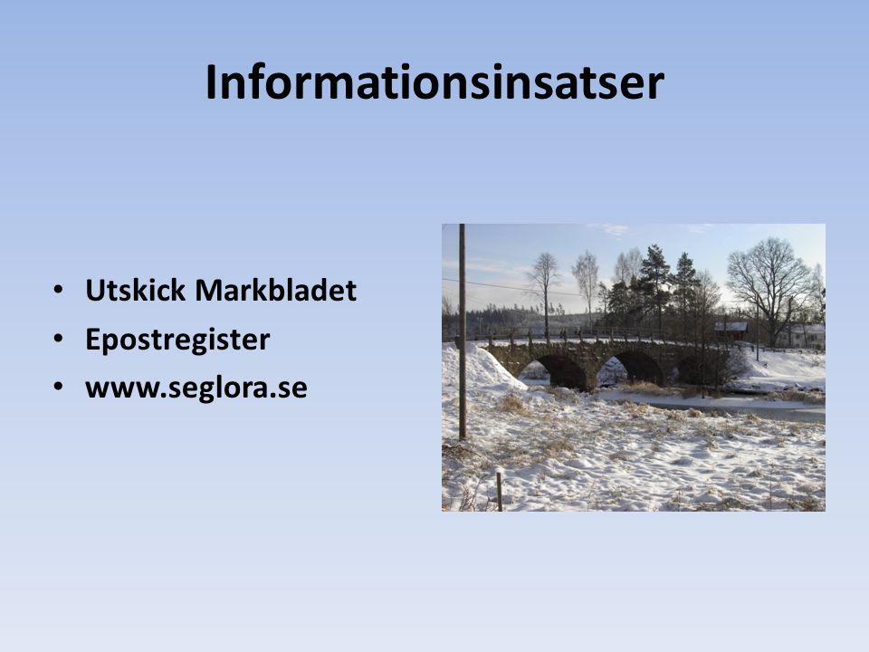 Informationsinsatser Utskick Markbladet Epostregister www.seglora.se